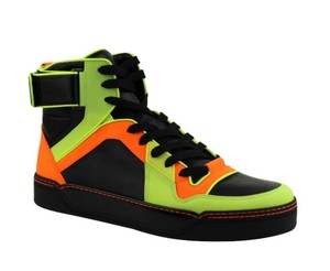 Gucci Neon Men's Sneakers Leather Logo High Top Basketball (9.5 G / 10.5 Us Shoes