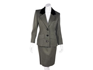 Givenchy Grey Vintage Givenchy Wool Skirt Suit Set