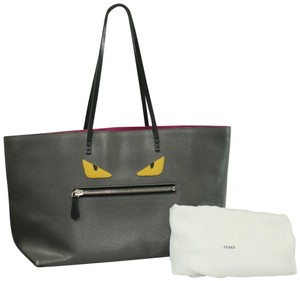 Fendi Leather Silver Hardware Tote in GREY