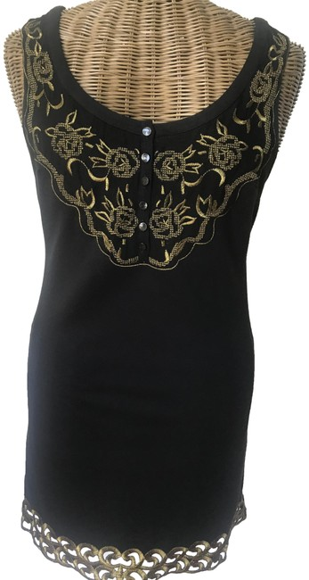 Item - Black/Gold Embroidered Shift Short Casual Dress Size 8 (M)