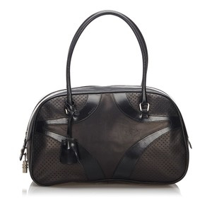 Prada 9lprtr001 Vintage Leather Black Travel Bag