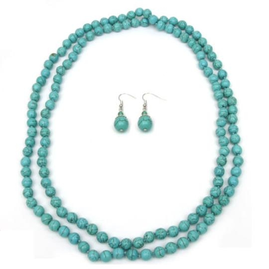 Howlite 24 Inch Stunning Beads Turquoise Howlite Necklace and Earrings Set