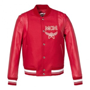 MCM Women's Wool Ruby Red Leather Jacket