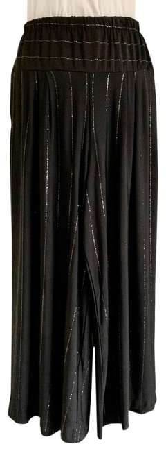 Item - Black Jersey Poly Elastic Po Full Leg Crop Evening Pants Size 12 (L, 32, 33)