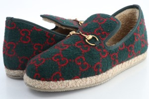 Gucci Green Men's Gg Wool Loafer Shoes