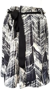 Magaschoni Silk Print Formal Business Skirt Ecru Black