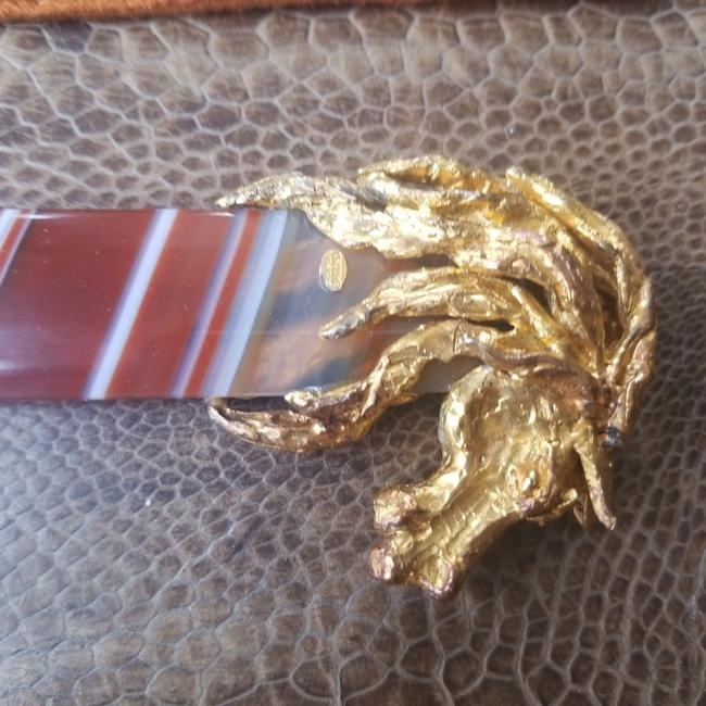 Item - Brown Amber and Gold Vintage Letter Opener High Value Luxury Item Casual China