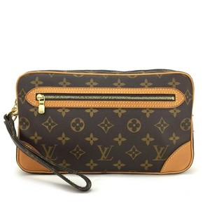 Louis Vuitton Marly Dragonne Pochette Cosmetic Case Monogram Leather Wristlet in Brown