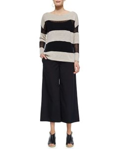 Eileen Fisher Boat Neck Striped Linen Organic Sweater