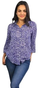 Chico's Button Button Up Top Blue