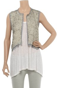 Antik Batik Vest Open Sleeveless Crop Chiffon Top gray