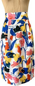 J.Crew Pintucked Pencil Linen Pleated Skirt Floral