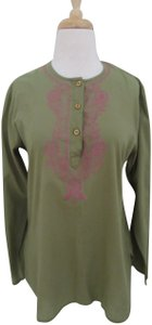 Antik Batik Kurta Embroidered Olive Boho Tunic