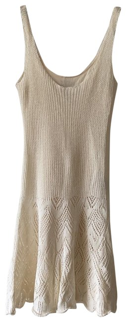 Item - Linen Crochet with Silk Lining Mid-length Short Casual Dress Size 4 (S)
