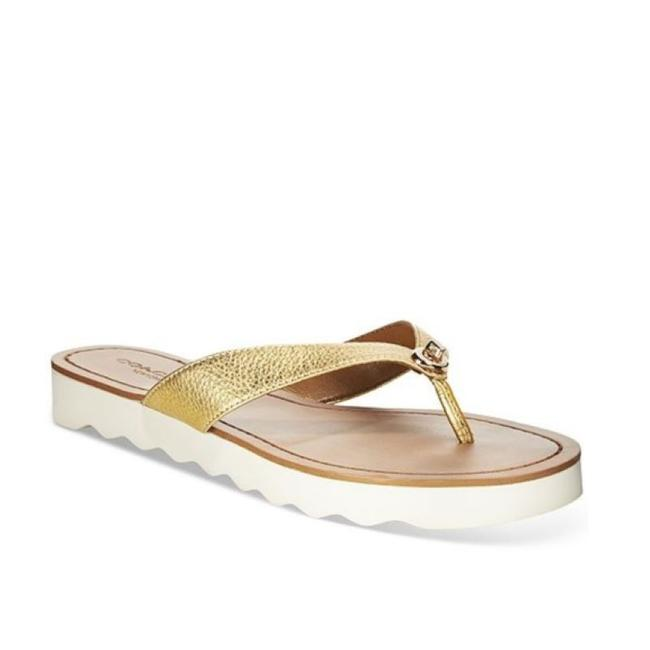 Item - Gold and Tan Shelly Logo Flip Flop Sandals Size US 7 Regular (M, B)