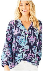 Lilly Pulitzer Monkey Trouble Top Navy and Pink