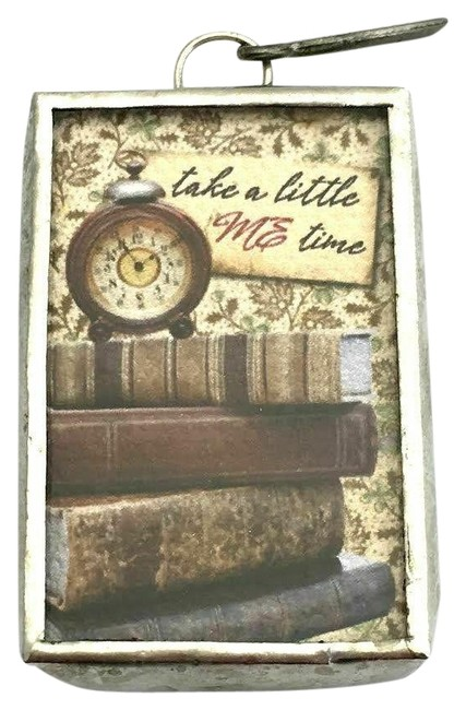 """Item - Brown/Cream/Silver """"Take A Little Me Time"""" Vintage Style Clock Pendant/Charm Charm"""