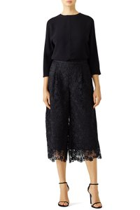 Diane von Furstenberg Lace Culottes Wide Leg Evening Capri/Cropped Pants black