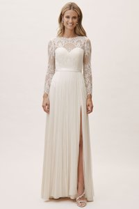 Catherine Deane for BHLDN Ivory Silk Nola Feminine Wedding Dress Size 12 (L)