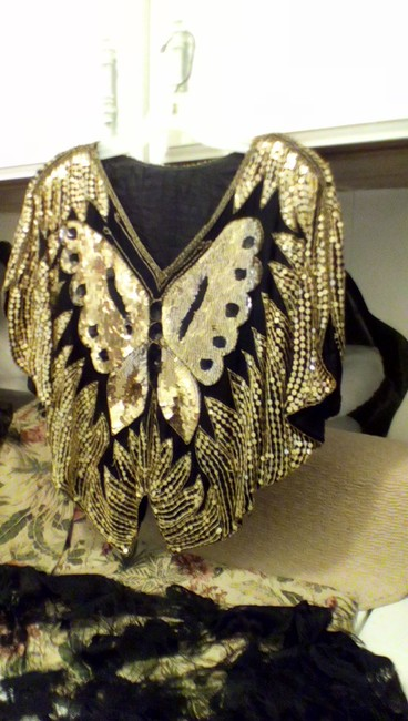 Other One Of A Kind Great Shape Hides A Multitude Of Flaws Vintage Sequin Work Butterfly Effect Top Gold/ Black