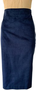 Banana Republic Faux Patent Pencil Blue Fitted Sexy Skirt Navy