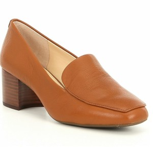 Alex Marie Loapers Block Heel Charvey Leather Luggage Tan Pumps