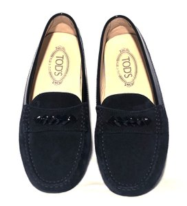 Tod's Moccassins Slip On Classic Chic Blue Black Flats