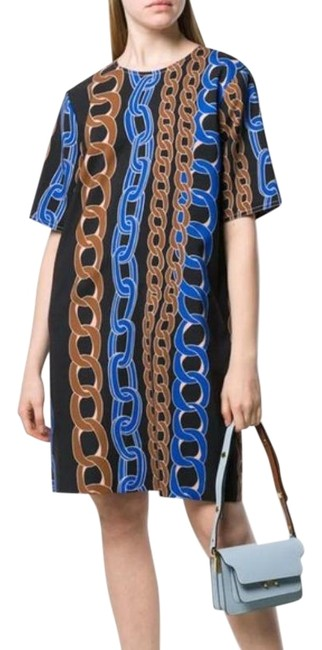 Item - Black Chain Print Midi Mid-length Short Casual Dress Size 8 (M)