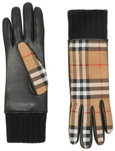 Burberry Vintage Check & Leather Gloves SIZE 8