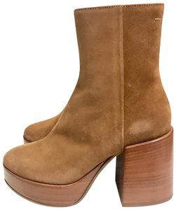 MM6 Maison Martin Margiela Ankle Boots Suede Leather Booties Classic Brown Platforms