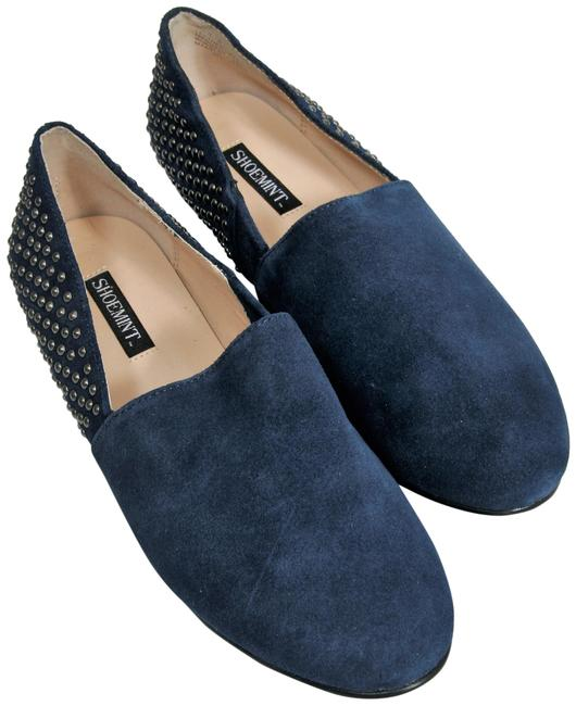 Item - Navy Leather Studded Loafer Flats Size US 6 Regular (M, B)