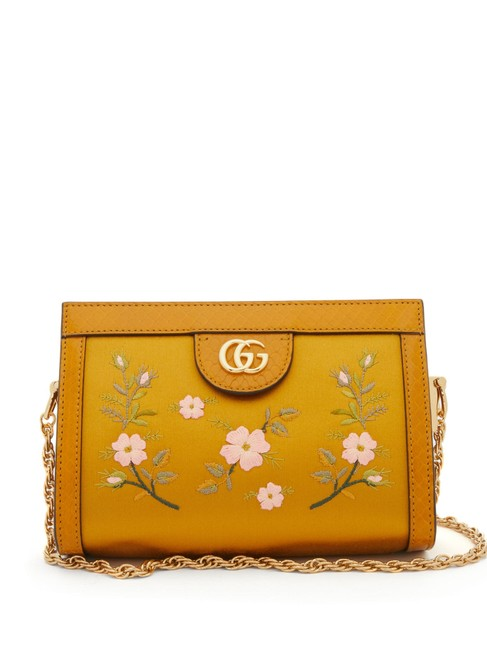 Item - Mf Ophidia Snake-trim Cross-body Yellow Ochre Satin Shoulder Bag