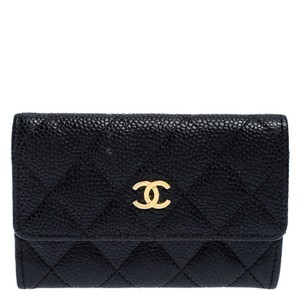 Chanel Chanel Black Quilted Leather CC Flap Compact Wallet