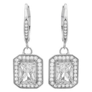 Stunning Emerald Cut Halo Lever Back White Cubic Zirconia Dangle Earrings