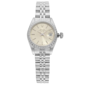 Rolex Date Engine Turned Bezel Silver Dial Automatic Ladies Watch 26mm
