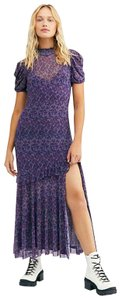 New Purple Maxi Dress by Free People Chic Vintage Inspired Maxi Puff Sleeves Keyhole