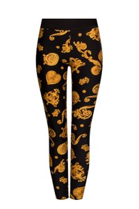 Versace Baroque Medusa Monogram Hardware Metallic Jeggings