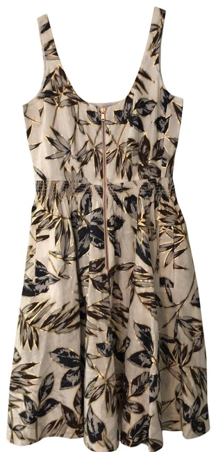 Item - Natural Linen with Slate Blue Brown & Charcoal Leaves Pattern Gold Leaf Outlines Mid-length Night Out Dress Size 0 (XS)