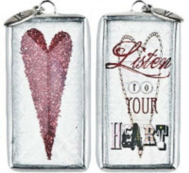 """Item - Red/White/Silver Rare American Heart Assoc """"Listen To Your Heart"""" Pendant Charm"""