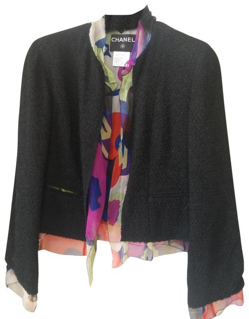 Item - Black with Silk Monogram Scarf Like Interior with Buttons Cc Logo Vintage Double Lining Jacket Size 12 (L)