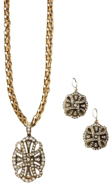 Item - Brass/Gold 2pc Gallery and Earring Brass/Crystal Set Necklace