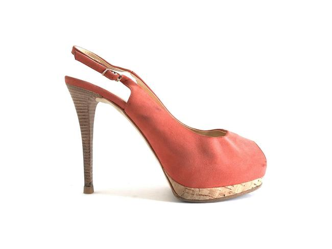 Item - Coral Slingback Suede Leather Stacked Heels Peep Pumps Size EU 37 (Approx. US 7) Regular (M, B)