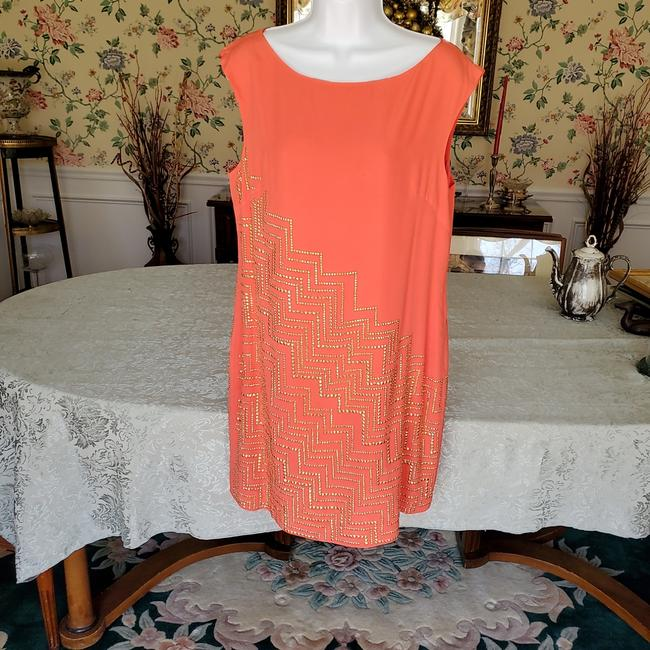 Item - Tangerine/Gold Emblishments Silk Lined Mid-length Short Casual Dress Size 10 (M)