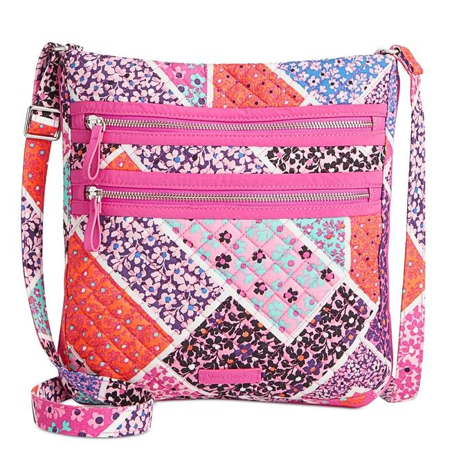 Item - Quilted Iconic Triple Zip Hipster Modern Medley Cotton Cross Body Bag