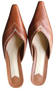 CORELLO Leather Kitten Heel Brown Mules