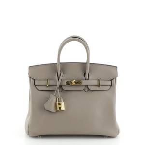 Hermes Leather Gray Tote in Gris Asphalte (Gray)