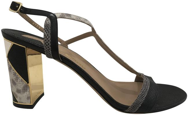 Item - Black Gray Gold Embossed Snake Leather Sandal/Heels Sandals Size US 10.5 Regular (M, B)
