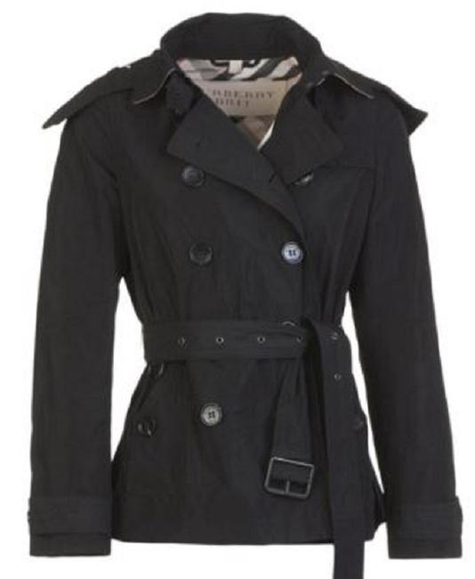 Item - Black Cropped Balmoral Trench Jacket Size 4 (S)