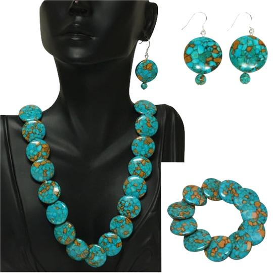 "Other Round Green Turquoise Howlite Necklace 18"" W/Lobster Clasp Bracelet Earrings Set"