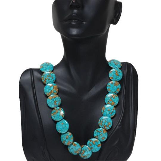 Other Round Green Turquoise Howlite Necklace 18
